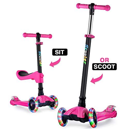 GOOGO Monopattino a Tre Ruote per Bambini con Sedile età 2-13 Anni Kick 3 Ruote Scooter con Ruote a LED, Altezza Regolabile per Bambini Ragazzi Ragazze Scooter Sedile Rimovibile (Rosa)