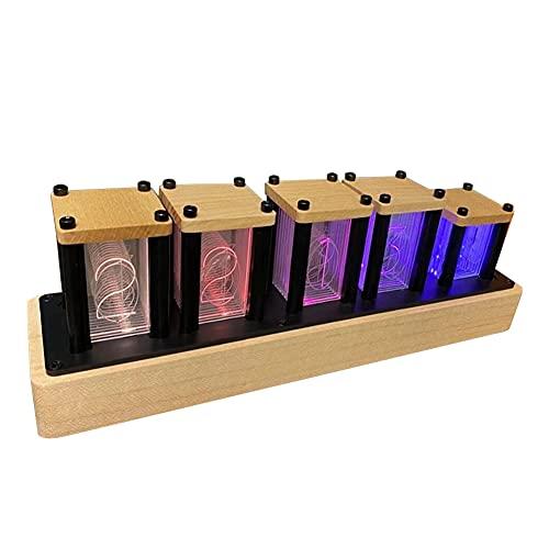 ニキシー管風置き時計 レトロモダン木製クロック 1600万色 RGBフルカラーLEDデジタル時計 ニキシー管風DIY卓上時計インテリア(ハードメープル)