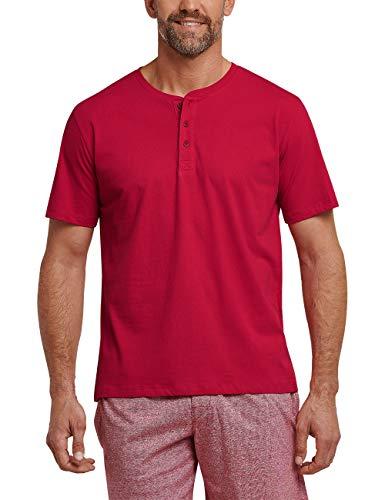 Schiesser Herren Mix & Relax T-Shirt Knopfleiste Schlafanzugoberteil, Rot (Rot 500), Large (Herstellergröße: 052)