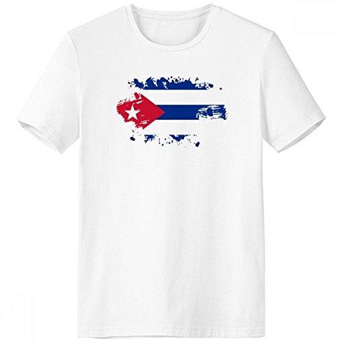 DIYthinker Homme Cuba Drapeau National Amérique du Nord Pays Symbole T-Shirt Mark Motif Paintbrush Ras du Cou Blanc Tagless Comfort Sports T-Shirts Gift - Multi - XXL XX-Large Multicolore