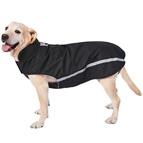 Dociote Wasserdichter Hundemantel Hundejacke mit Kragenloch Klettverschluss Fleece gefüttert reflektierender Wintermantel für mittelgroße große Hunde Schwarz 6XL