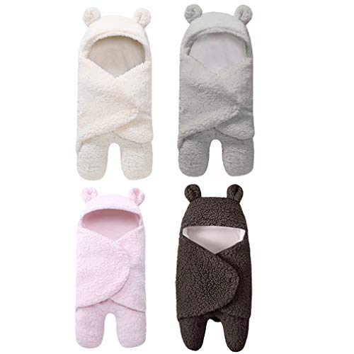 4PCS Manta De Cordero Envolvente Para Bebé Manta Con Capucha De Oveja Linda Para Bebé Manta De RecepcióN Para Bebé ReciéN Nacido Saco De Dormir Para Bebé Con Forro Polar Para BebéS De 1 A 12 Meses