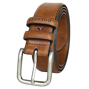 Dockers Men's Casual Leather Belt - 100% Soft Top Grain Genuine Leather Strap with Classic Prong Buckle,Tan,36