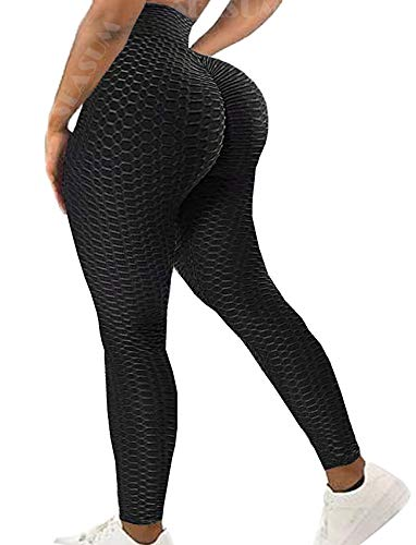 SEASUM Women High Waisted Yoga Pants Workout Butt Lifting Scrunch Booty Leggings Tummy Control Anti Cellulite Textured Tights S