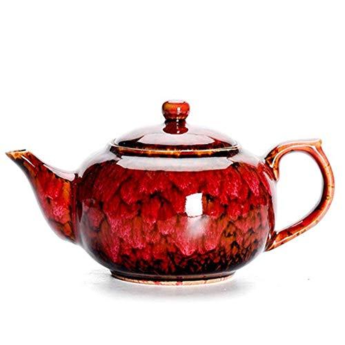 GLXLSBZ Tetera de cerámica Tetera de cerámica Tetera China Tetera de una Sola Olla Tetera roja China Festiva para té a Granel y bolsitas de té Teteras (Color: Red, Size: 250ml)