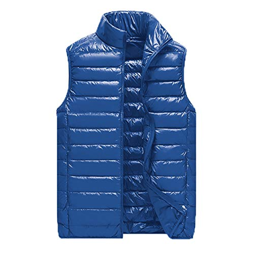 Logista Herren Mikro-Daunen-Weste Royalblau - Echt-Daunen-Weste blau, Ultraleicht, mit Beutel (XL)