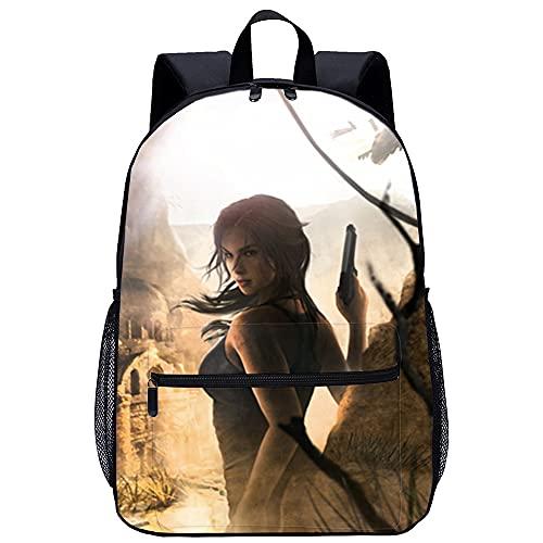 KKASD Rise of the Tomb Raider 3D gedruckter Rucksack Unisex Schultasche lässig Persönlichkeit Erwachsene Rucksack 45x30x15cm Schulrucksack