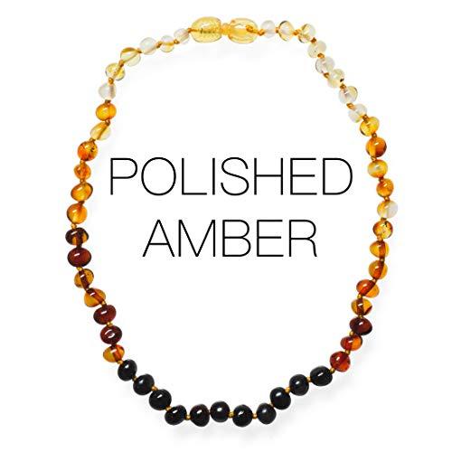 Meraki Amber Necklace - Polished Baroque Amber Necklace | Certified Genuine Amber Necklace | Rainbow Color (11.5 Inches)