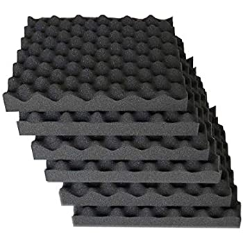 """Convoluted 2 Inch 12"""" W x 12"""" L Egg Crate Panels Acoustic Foam Sound Proof Wall Tiles, 6 Pack"""
