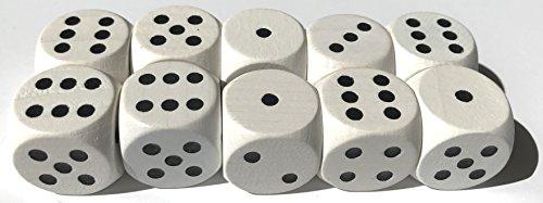 Spieltz 52375: 10 Augen-Würfel aus Holz, extra groß (20 mm), für XL-Spiele und für Senioren, kleine Kinder oder Menschen mit motorischen Einschränkungen (Packungsgröße: 10 Würfel)