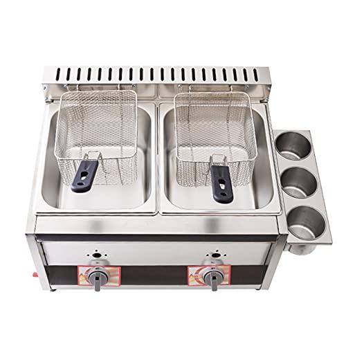 Freidora de gas de doble cilindro de 20 l, freidora de gas profesional de acero inoxidable comercial con cuchara de cesta para encimera de restaurante comercial Máquina para cocinar alimentos
