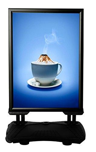 DISPLAY SALES Kundenstopper Plakatständer WindPro® DIN A0 schwarz | Wetterfester Plakataufsteller mit befüllbarem Wassertank | windfester Werbeaufsteller mit robusten Stahlfedern