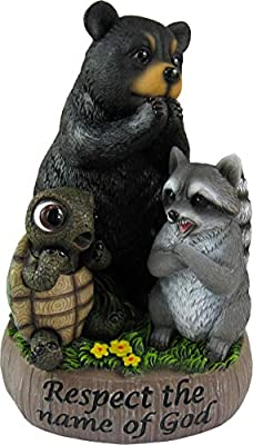World of Wonders - Respect The Name of God - Adorable Forest Bear Collectibles Raccoon Figurines Whimsical Decor Great Smokey Mountains Home Decor, 6-inch