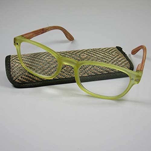 KOST moderne leesbril +1,5 groene beugel in houtlook flexbeugel leeshulp etui