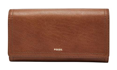 Fossil Damen Geldbörse Portemonnaies RFID Logan Flap Leder Braun SL7833-200