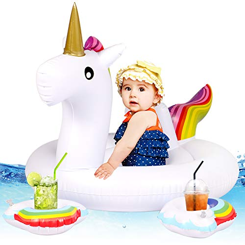 Tacobear Bebé Niño Flotador Unicornio Piscina Flotador Piscina Hinchable Unicornio Flotante Colchoneta Piscina Natación Juguete con 2 Hinchable portavasos