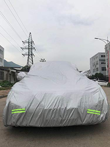 "Mockins 200"" x 75"" x 60"" Heavy Duty 190T Silver Polyester Car Cover - The All Weather Car Cover is Breathable & Waterproof and Will Protect Your Vehicle from All Elements"