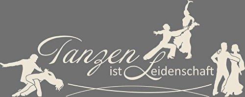 GRAZDesign Wandtattoo Tanzen ist Leidenschaft Wandsticker Tanzen Sportler Motivation, Fitness, Fitnessraum (144x57cm//816 Antique White)