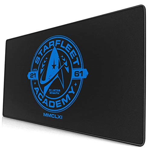 """Gaming Mouse Pad, Cool Design Starfleet Academy Star Trek Blue Mouse Pads, Non-Slip Rubber Black Mousepad for Gaming Office Working 16"""" X 30""""(3mm Thick)"""