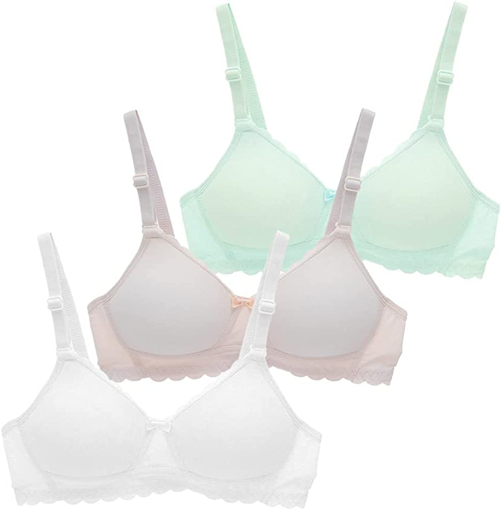 VELWINGS Seamless Girls Bra Cotton Soft Comfort Training Sports Bra with Djustable Straps 3Pack