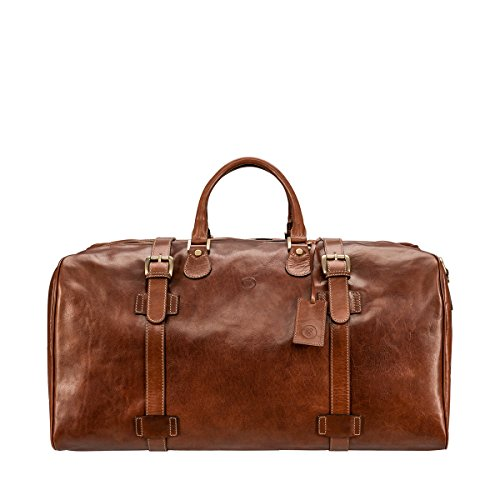 Maxwell Scott Men's Leather Extra Large Travel Holdall - FleroEL Tan