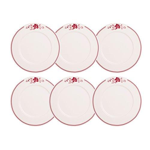 Depot d'Argonne Rose Frühstücksteller, Keramik, Rot, 22,5 x 22,5 x 2,5 cm, 6 Stück