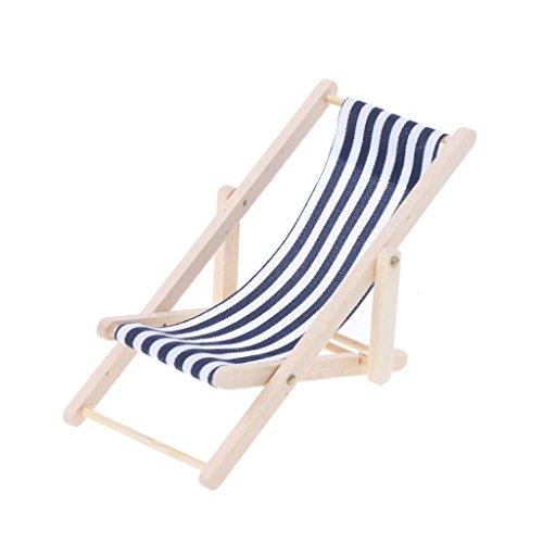 Xuebai Escala 1:12 Silla para Tomar el Sol en la Playa casa de muñecas Accesorios para muñecas de Juguete en Miniatura Silla para Tomar el Sol Azul