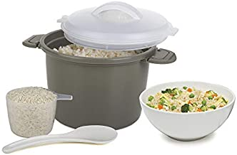 Prep Solutions 4 Piece Microwave Rice Cooker Set [Gray]