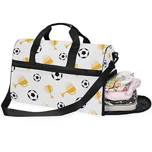 QMIN Reisetasche, Sport-/Fußball-Trophäenmuster, großes Handgepäck, Reisetasche, leicht, Reißverschluss mit Gurt, für Damen, Herren, Mädchen, Jungen