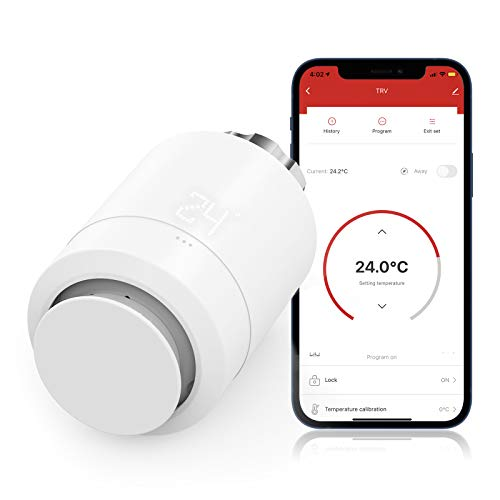 Válvula Termostática WiFi para Radiador, Maxcio Termostato de Calefacción Programable, Patalla LCD,...