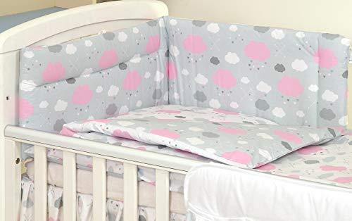 3 PIÈCES Ensemble literie pour lit d'enfant & lit bébé linge de lit 100% Coton (Nuages Gris Rose, 120x60cm)
