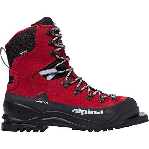 Alpina Sports Alaska 75 Leder 3 Pin 75mm Backcountry Langlauf Nordic Skischuhe rot/schwarz Euro 42