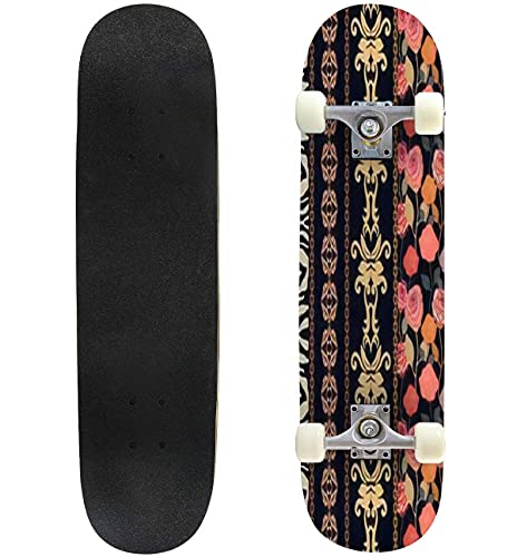 """Art Deco Vintage Silk Wallpaper with Ethnic Motifs and Bohemian Skateboard 31""""x8"""" Double-Warped Skateboards Outdoor Street Sports Skateboard for Beginners Professionals Cool Adult Teen Gifts"""