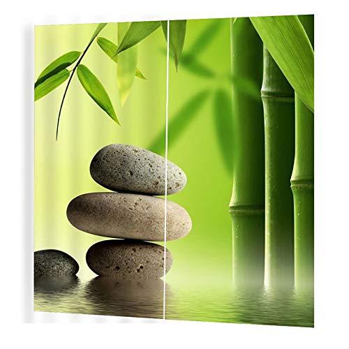 Silverdee 150 * 166 cortinas para sala de Estar dormitorio cortinas de Ventana Piedra de bambú balcón impreso Sombra de sol Estilo jardín