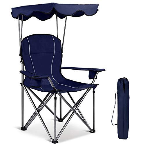 Gymax Canopy Chair, Portable Folding Beach Pool Chair Lawn Chair with Canopy Two Cup Holders and Carry Bag, for Outdoor Beach Camp Park Patio (Blue)