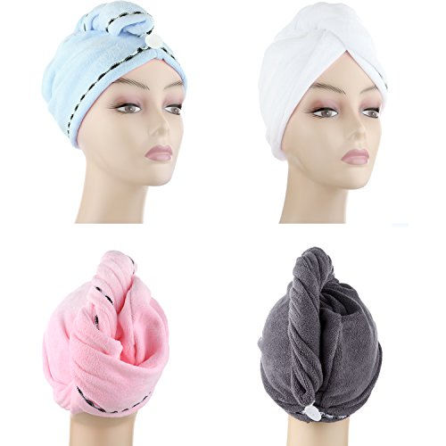 Microfiber Hair Drying Towels, Fast Drying Hair Cap, Long Hair Wrap,Absorbent Twist Turban, White, Light Blue, Pink, Dark Gray (4 pack)