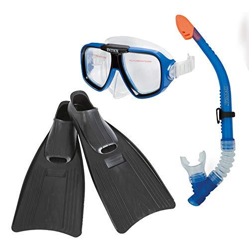 Intex Reef Rider Tauchset  - Flossen, Schnorchel und Maske - Latexfrei - Blau