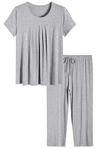 Latuza Women's Pajamas Pleated Loungewear Top and Capris Pjs Set 2X Light Gray