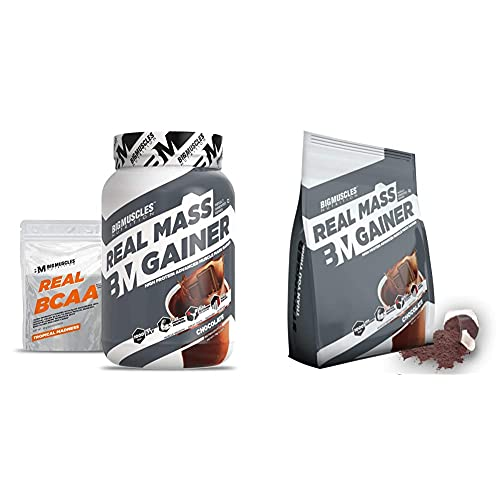 Bigmuscles Nutrition Real Mass Gainer [1Kg, Chocolate] with Free Real Crea 34 Servings and Bigmuscles Nutrition Real Mass Gainer [Chocolate], 10 Servings