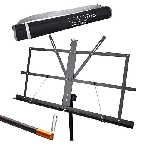 LAMARIS Notenständer: höhenverstellbar von 80-180 cm - mit Tragetasche und Magnetbleistift