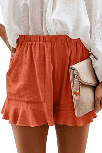ASKSA Dames HoheTaille Shorts Stretch Casual zomerbroek plissé losse rechte broek yoga korte vrijetijdsbroek sweatpants met zakken