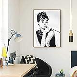 DASHBIG Negro Blanco Audrey Hepburn Retrato Maquillaje Cartel Moderno Impresiones Lienzo Pintura Arte de Pared Cuadros modulares para decoración de Dormitorio | 50x70cm sin Marco