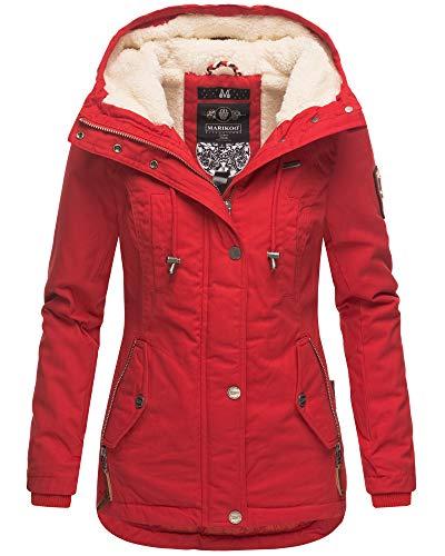 Marikoo Damen Winter Jacke Teddyfell Warm Kuschelig Kurz Mantel Parka Kapuze BKO (Large, Rot)