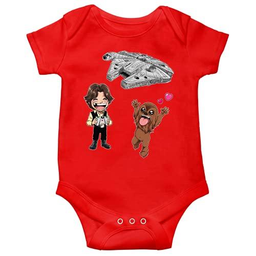 Body bebè Rosso a maniche corte parodia Star Wars - Caricature SD di Han Solo, Chewbacca e il Falcon Millenium Mini Drone (Body bebé di qualità premium in taglia 6 mesi - Stampata in Francia - Rif :