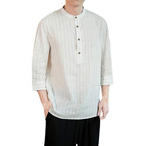 Adlforever Herren Streifen Hemd Freizeit ohne Kragen 4/3 arm Hemden Atmungsaktiv...