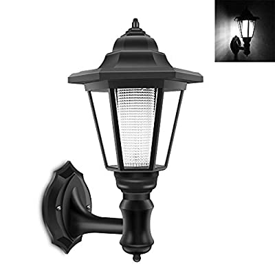Solar Wall Lantern Wall Lamp, Solar Waterproof Wall Light Outdoor Wall Sconce Led Hexagonal Light Fixture for Wall, Garage, Front Porch,Fence, Yard Cool White - 1 Pack