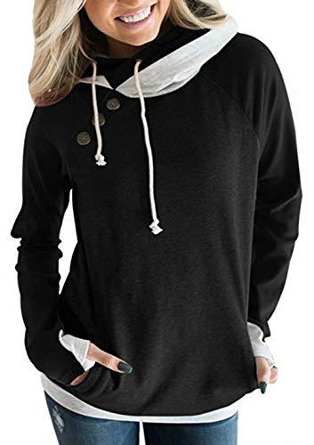 Hiistandd Damen Kapuzenpullover Hoodie Langarm Sweatshirt Kontrastfarbe Warm Pulli, Schwarz, XL