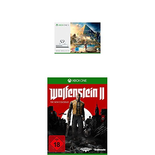 Xbox One S 500GB Konsole - Assassins's Creed Origins Bundle + Wolfenstein II: The New Colossus