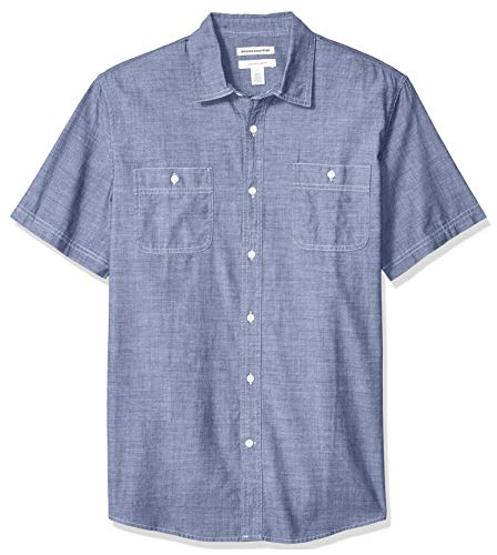 Amazon Essentials - Camicia da uomo a maniche corte in chambray, regular fit, Rinsed, US XL (EU XL - XXL)