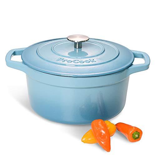 ProCook Cast Iron Casserole Dish - 24cm / 4.7L - Graduated Turquoise - Round Induction Casserole with Tough Enamel Coating